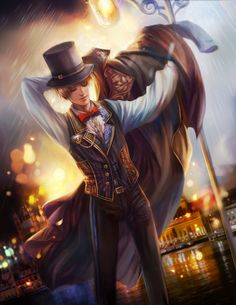 APH Fan art,England by jiuge.deviantart.com on @deviantART - Victorian-era dress with just a hint of steampunk: Arthur was REALLY getting his fashion game on in the 19th century!