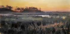 Evening Glow, Marshland by Charles Iarrobino Oil ~ 12 inches x 24 inches