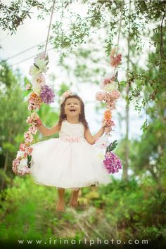 Spring, flowers, swing, child, pink tutu dress, happiness, irinart photography