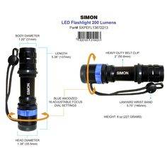 Newly Updated - Small Compact Rugged Versatile Adjustable LED Flashlight. A Must Have for Home and Car, GET YOURS HERE--> http://simonflashlights.net/product/xpe-200/ While Supplies Last. Just $25.00 and Sells Out Fast! #200Lumens