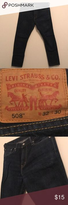 Levi's 508 Regular Taper Jeans Levi's regular/taper leg blue jeans. Most wear was how it was bought. Additional wear includes the back pocket and a little in the crotch (pretty good condition). Levi's Jeans Relaxed