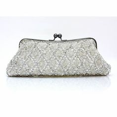 Silver White Beaded Soft Wedding Bridal Party Evening Bag Purse Clutch  SKU-1110542