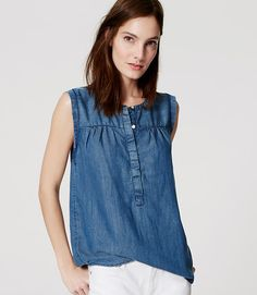 Image of Chambray Henley Shell