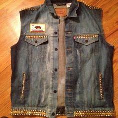 Custom Studded and Spiked Denim Vests and Jackets    #customclothing #mensclothing #clothing #customvest #customjacket #denim #denimvest #levis #designer #design