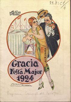 Cartel publicitario de las Fiestas de Gracia(Barcelona), año 1924 (Biblioteca de Catalunya).