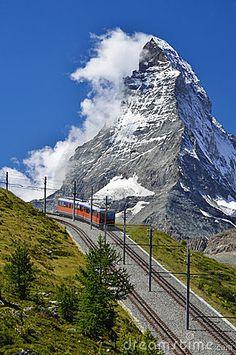 The Gornergratbahn is a 9 km long mountain rack railway in Switzerland Alps (Swiss)