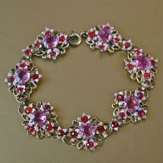 Czech Bohemian Art Deco Pink and Red Floral Link by prettyinprague, $78.00