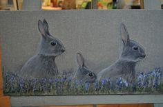 Petits lapins aux aguêts sur www.ladilettanteatelier.fr Kangaroo, Rabbit, Animals, Bunny, Bunnies, Paint, Baby Bjorn, Rabbits, Animales