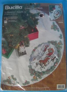 Bucilla 1997 Counted Cross Stitch Tree Skirt Kit To Grandmothers House We Go