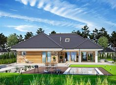 Zdjęcie projektu Padme WOE1108 House Plans Mansion, 4 Bedroom House Plans, Bungalow House Plans, Village House Design, Village Houses, Rest House, My House, L Shaped House, Cottage Style Homes