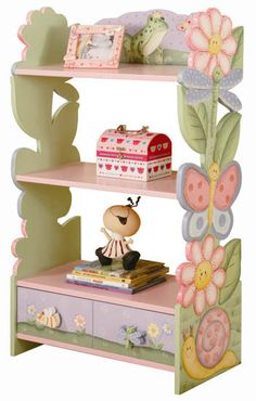 Butterflies and flowers in vivid colors abound on this lovely hand painted, hand carved book shelf. It is the best place to display your favorite things and to organize your books. There is a draw on the bottom for storage