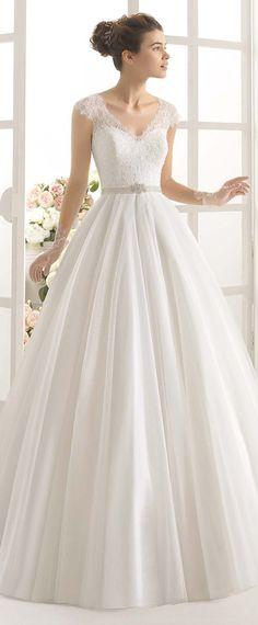 Amazing Lace & Organza V-neck Neckline Natural Waistline A-line Wedding Dress With Beadings