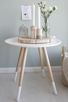 skandinavisches design couchtisch rund holz weiß