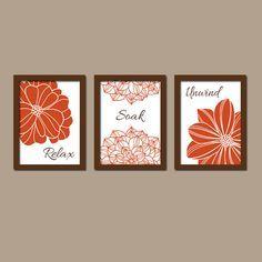 Shower Curtain Bathroom Wall Art Canvas Artwork Burnt Orange Brown Flower  Set Of 3 Prints Decor Relax Soak Unwind Quote Bath Match Three