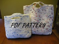 Recylced Plarn Bag PDF PATTERN  Includes a photo tutorial that shows how to make Plarn.   $3.99