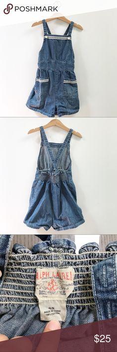 27a4c8a8b RALPH LAUREN girls 6x overall shorts Excellent used condition! Girls size  6x Ralph Lauren denim