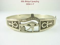 Estate Handcrafted EGYPTIAN Sterling Silver 925 Eye of Horus Ankh Bracelet #Unbranded