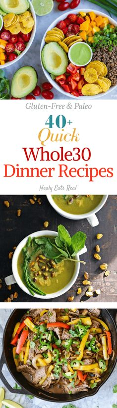 Quick Whole 30 Dinner Recipes! Paleo & Gluten Free--- All of these recipes are 30 minutes or under, great healthy meals!