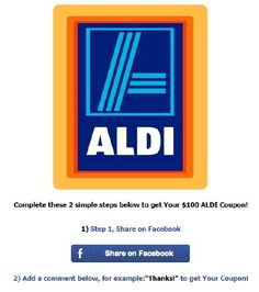06-26-2015  Beware:  There's An ALDI'S fACEBOOK SCAM going on and you shouldn't fall for it!!!