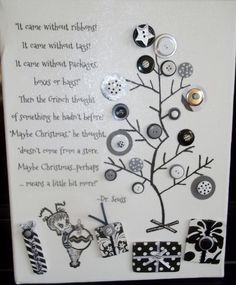 I love this idea of a message and art printed and then adorned with buttons and glitter - could make versions of this for ALL occasions