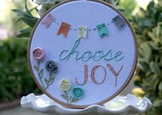 "I can't think of a better mantra than ""Choose Joy""    **This is a recreation of the original created for a giveaway. Please allow 10-14 days for your order to be stitched with love**    A great reminder for yourself for the day to day whether it's good, bad, happy or hard.   Or a perfect gift for..."