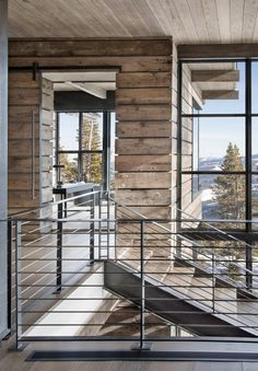 This Modern Ski Home in Montana offers clean contemporary lines. The expansive glass facades play off of traditional stone and timber giving this home. Modern Mountain Home, Mountain Homes, Montana, Ski Lodge Decor, Interior Exterior, The Ranch, Modern Rustic, Rustic Elegance, Beautiful Homes