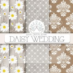 "Daisy digital paper: ""DAISY WEDDING"" with daisy pattern, daisies background, lace, wood, kraft paper for scrapbooking, cards, planners #floral #digitalpaper #lace #damask #shabbychic #wedding #scrapbookpaper #texture #woodtexture #romantic #distressedwood #planner #partysupplies"