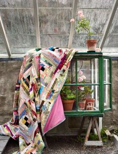 Gorgeous rustic and modern patchwork quilt. I want one