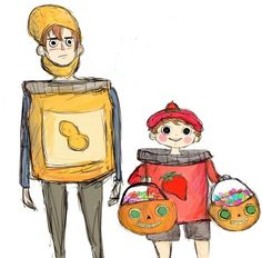 Over The Garden Wall/Gravity Falls crossover  Wirt and Greg in Dipper and Mabel's Summerween costume's, Greg is collecting all of the candy and Wirt just wants to die on the inside.