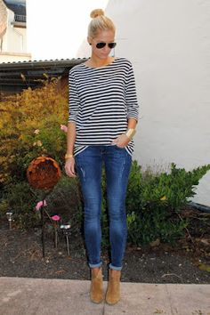Rolled jeans, booties, and striped shirt