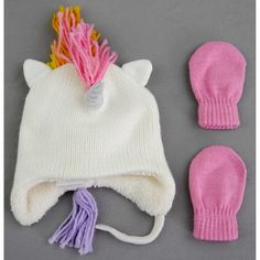 531f87ad58441 Toddler Girls  Knit Unicorn Hat and Mitten Set - Cat   Jack Cream Pink  2T-5T