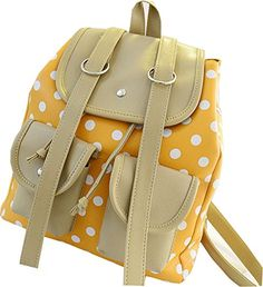 Buenocn Women Korean Pu Leather Polka Dot Rucksack Girl Backpack Tote Handbag Satchel Shy181 (yellow)  - Click image twice for more info - See a larger selection of yellow  backpacks at http://kidsbackpackstore.com/product-category/yellow-backpacks/ - kids, juniors, back to school, kids fashion ideas, teens fashion ideas, school supplies, backpack, bag , teenagers girls , gift ideas, yellow