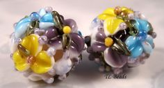 Chintz Violet Garden Handmade Floral Lampwork Glass by TLBeads, $16.00