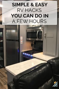 Whether you purchase a brand new RV off the lot or a used one from a friend, they usually don't look exactly like you want. These simple RV hacks can be done in a few hours or less to improve the space and make it yours. Rv Upgrades, 5th Wheel Rv, Rv Trailers, Travel Trailers, Rv Travel, Travel Trailer Living, Travel Tips, Rv Storage, Storage Ideas