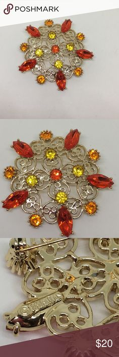 """🆕Vintage Gold & Autumn Rhinestones Pin by Emmons By Emmons! A little more than 2"""" in diameter, with sparkling stones in red, yellow and orange! The perfect Thanksgiving pin! 🦃 in excellent vintage condition; no signs of wear! Vintage Jewelry Brooches"""