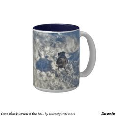 Cute Black #Raven in the Snow Photo #Coffee Mugs