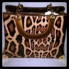 *VDAY SALE* NWT Cheetah Print Tote Vegan Cheetah Tote with shoulder strap patent leather like look..BEAUTIFUL, hand strap linked by chain, lots of inside compartments, a Tote and a Shoulder Bag Bags Totes