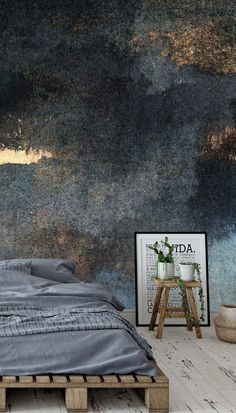 This nature-inspired, yet at the same time, industrial effect wallpaper is perfect. It not only creates a sense of calm but will instantly update the feel of your living room, bedroom or bathroom. Style with a rustic palette bed and dark grey bedding to continue the industrial look and add house plants and wooden accessories to mirror the outdoorsy feel of the mural. Tap the link to get the look at Wallsauce.com!