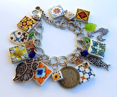 Portugal Antique Azulejo Tile Charm Bracelet Sardine by Atrio,