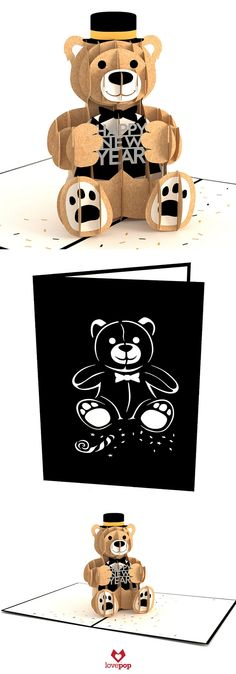 Send a loved one some New Year's cheer with our tuxedo New Year's Bear pop up card. Happy 2016! #HappyNewYear