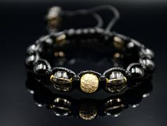 Men's Cubic Zironia Bracelet Black Agate Bracelet Gemstone