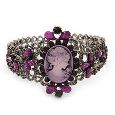 Victorian Style Cameo Purple Diamante Bangle