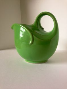 Rare Vintage Art Deco Hall Pottery Green Pitcher by Waycoolmodern