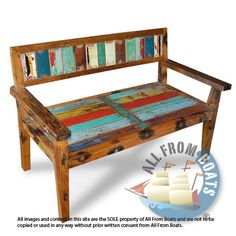 2 seater bench with arm, slat design, made from reclaimed boat timber. Nautical, recycled, reclaimed, boatwood, boat furniture.