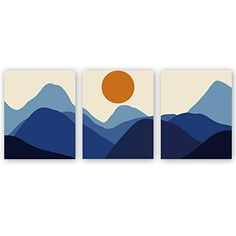 CHDITB Unframed Abstract Sunrise Art Print Modern Mid Century Canvas Art Poster,Set of Rolling Mountains Art Painting,Landscape Art for Living Room Wall Decor Small Canvas Paintings, Easy Canvas Art, Small Canvas Art, Mini Canvas Art, Modern Canvas Art, Modern Art Prints, Diy Canvas, Acrylic Paintings, Contemporary Paintings