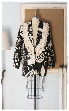 "Stellar Vintage 1980s Abstract Batik ""Decorp"" Fringed Slouchy Oversized Boyfriend Blazer*Jacket"