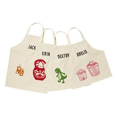 Children's Aprons, make something like this and print their names and an apple on it?