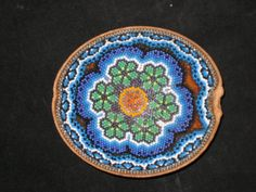 Stunning-Peyote-Huichol-Indian-Mexican-Folk-Art-Hand-Beaded-Carved-Gourd-Bowl