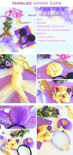 Prepare these DIY Minnie ears inspired by Tangled for the best day ever! Diy Disney Ears, Disney Mickey Ears, Disney Diy, Disney Crafts, Mickey Ears Diy, Anna Disney, Disney Rapunzel, Disney Bound, Mickey Mouse Crafts