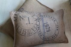 Lovely old sack cloth cushions, filled with soft down to make them very comfortable and cosy. £15.00